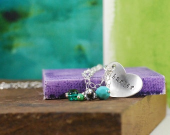 Personalized Heart with Kids Name Necklace  {Hand Stamped Sterling Silver}