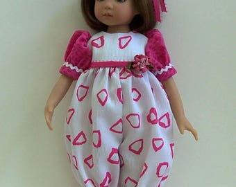 """Little Darling Doll Clothes LITTLE PINK TRIANGLES Romper, Sash &  Hair Bow for 13"""" Dianna Effner doll"""