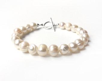 Bracelet - Freshwater Pearl Bracelet - Sterling Silver Toggle - Cream Ivory - Real Pearl Bracelet - Bridesmaid Gift - 925