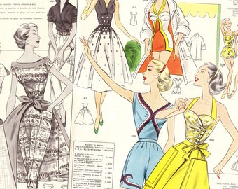 PDFs of vintage 50s pattern drafting system - instant download - Summer 1957