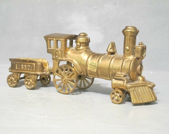 Vintage Solid Brass Steam Engine & Coal Car with Rolling Wheels Freight Train Antique Replica Railroad Collector Locomotive Railway Engineer