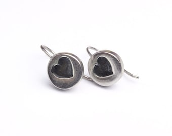 Round Small Sterling Silver 925 Disc Earrings with Tiny Heart