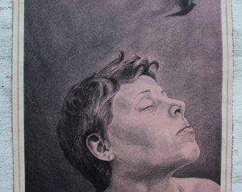 Pisces who longed for flight, an original charcoal portrait drawing