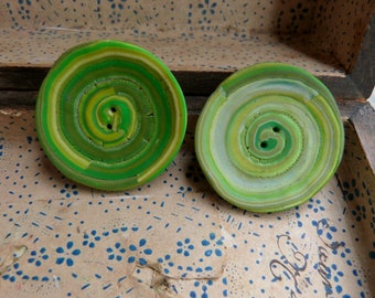 """Set of 2 big buttons green lime olive spiral 1""""1/2 unique handmade Polymer clay buttons 4cm, sewing DIY set, boho country, grab bag buttons"""