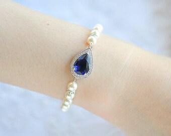 Blue or Purple Bridal Bracelet, Bridal Jewelry, Crystal Teardrop Bracelet, Swarovski Pearl Bracelet, Wedding Bracelet, Bridal Jewelry, FAYE