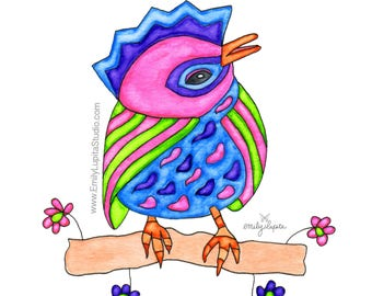 Painting / Art Print / Bird Home Decor / Unique Artwork Gift / Parents Children Kids  / Nursery Baby Shower Girl's Room / Charlie Bird