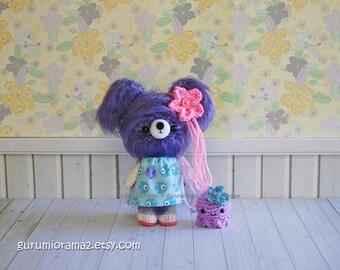 kawaii bear, amgirumi fuzzy crocheted royal purple bear plush, purple bitty octopus