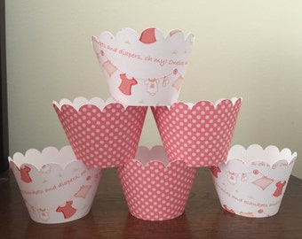 Clearance Baby Shower Cupcake Wrappers set of 12 Ready to Ship