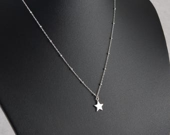 Dainty Sterling Silver Star Necklace, Fine Beaded Satellite Chain, 925 Sterling Silver