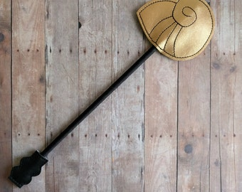 Octopus Shell Wand, Gold Embroidered Vinyl on Black Ribbon Wrapped Wooden Dowel, Halloween Costume, Sea Witch Wand, Dress Up Wand