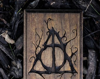 Deathly Hallows Wood Engraving/Woodburning
