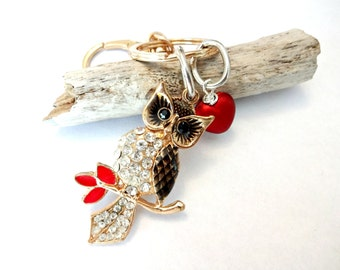 Owl Keychain, Owl Jewelry, Red Satin Heart Beaded Keychain, Owl Key Chain, Owl Gift, Rhinestone Pendant, Owl Car Charm, Owl Car Accessory
