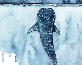 "Watercolor Whale Shark Painting - Print titled, ""Stars Collide"" Whale Shark Painting, Shark, Whale Art, Whale Print, Beach Decor, Stars"
