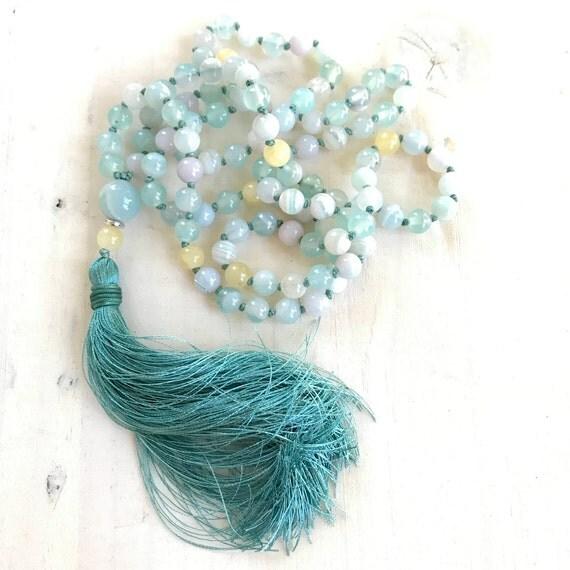 Aqua Agate Mala Beads, Calming Mala Necklace, Yellow Jade Mala, Knotted Prayer Beads, Yoga Beads, Silk Tassel Mala