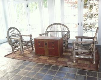 VINTAGE TWIG CHAIRS Set Pair Rustic Twig Wood Chairs Twig Adirondack Bent Twig Outdoors Garden