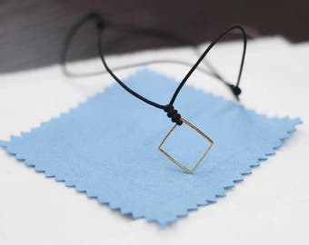 square necklace,black cord geometric necklace,adjustable geometry necklace,choker necklace,minimal charm necklace,fashion modern necklace