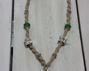 "21"" Purple and Green Natural Hemp Necklace"