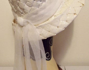 Vintage Ladies Hat  1950's  White Taffeta Bucket Hat with Tulle Banding and long tie down back