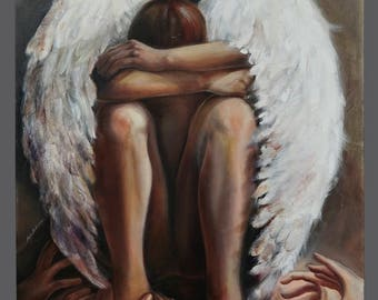 Vintage Oil Painting Fallen Angel Zdzislaw Beksinski Style Surreal Surrealism 30 x 40