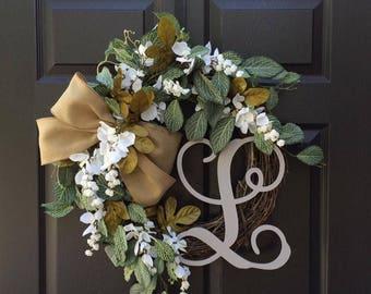 Front Door Wreaths - Fall Wreath - Monogram Wreath - Everyday Wreath - Year Round Wreath - Wreath with Initial - Greenery Wreath - Wreaths