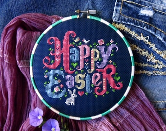 Easter Cross Stitch Pattern PDF – Happy Easter Sign – Easter Embroidery Designs – Easter Gifts – DIY Gift – Easter Bunny