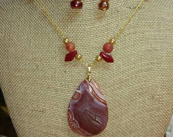 Red Agate and Pearl Necklace