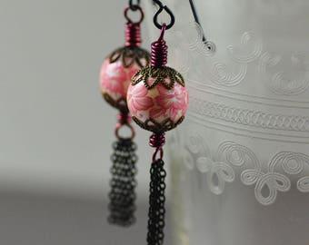 Tassel Earrings Featuring Vintage Japanese Tensha Pearl Finish White Pink Flowers Enameled Black Chain