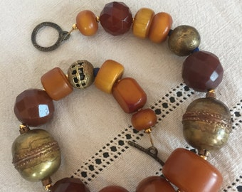 High end necklace:  amber,antique bronze ,rare faceted Czech beads