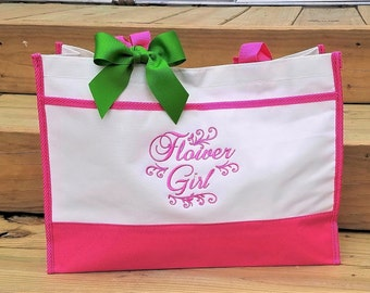 Flower Girl Tote Bag Flower Girl Bag Girls Wedding Tote Bag