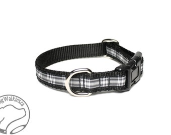 "Menzies Clan Tartan Dog Collar / 3/4"" (19mm) Wide / Black and White Plaid / Martingale or Side Release / Choice of collar style and size"