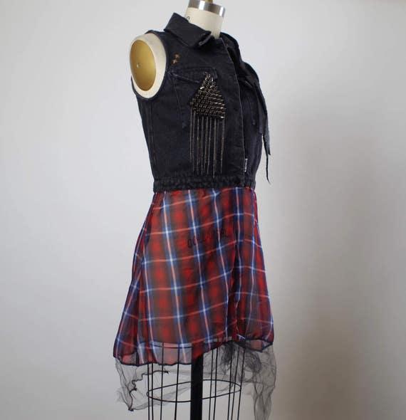 Plaid Denim Vest - Denim Vest Jacket - Punk - Street Wear - Funky - Denim Jacket