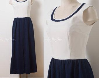 Vintage Maxi Dress, 60s dress, Mad Men Dress, Vintage Blue Dress, Navy Blue Dress, Vintage sleeveless Dress, 60s Maxi Dress - S
