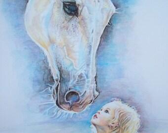 Bambina e cavallo, ritratto personalizzato, bambina dipinta, dipinto animali \ baby and horse painting, customized portrait, animal painting