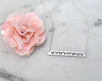 Latitude and Longitude Coordinates Silver-Aluminum Bar Necklace | Birthday, Anniversary, or Christmas Gift for Her | Handmade & Custom