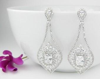 Vintage Bridal Earrings, Crystal Bridal Earrings, Wedding Earrings Vintage Bridal Jewelry Vintage, Crystal drop, Crystal Dangle Earrings UK