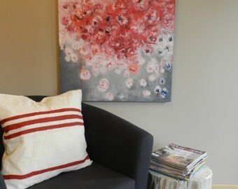 abstract floral painting,abstract peony painting, peony painting,peony art, peony wall decor, peony canvas , large art