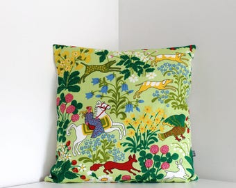 Cushion cover Animals flowers  cushion cover FREE UK shipping throw pillow. Swedish design Scandinavian. Pillow cover.