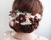 bridal headpiece, burgundy wedding headpiece, bridal hair piece, floral headpiece, bridal hair clip, bridal hair comb, floral hair piece