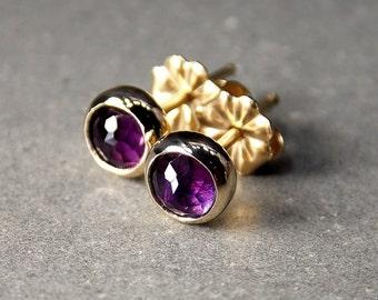 Rose Cut Amethyst & 14K Gold Stud Earrings