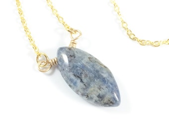 Blue Stone Pendant Necklace, Kyanite Necklace, Blue Kyanite Necklace, Natural Jewelry, Gemstone Jewelry, Bohemian Jewelry, Womens Gift