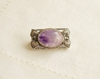 Antique Art Nouveau AMETHYST Sterling Silver Floral Brooch, Arts and Crafts Brooch
