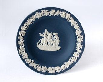 Wedgwood Portland Blue Jasperware Tray | Wedgwood White Relief Pegasus, Navy Blue Jasper Tray / Jasperware Pegasus Dish / Pegasus Tray