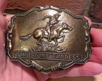 Tombstone Express Belt Buckle, Old West Belt Buckle, Pony Express belt buckle, 1970's belt buckle