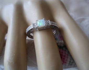 Antique Art Deco vintage Sterling Silver Ring with Opal ring size R