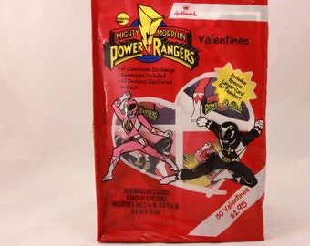 Vintage 1994 Mighty Morphin Power Rangers Valentine Cards and Envelopes. (30)