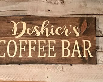 Personalized Coffee Bar wood sign