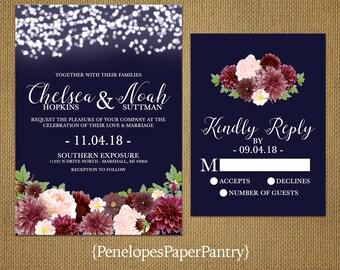 Elegant Rustic Fall Wedding Invitation,Navy Blue,Burgundy,Blush,Glowing Fairy Lights,Rustic,Romantic,Custom,Printed Invitation,Wedding Set