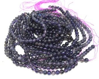 """Iolite 6mm round beads natural Iolite violet purple gemstones 16"""" strand"""