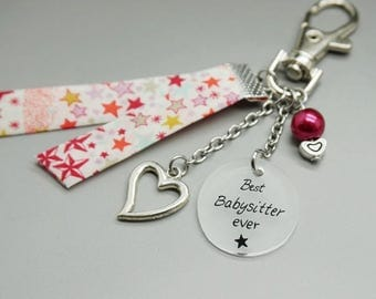 Personalized keychain Best Babysitter liberty heart baby - super babysitter -babysitter gift