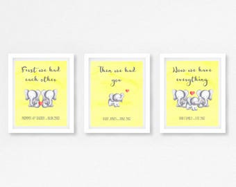Neutral Baby Shower Gift, Yellow Baby Shower, Gender Neutral Nursery Decor, Elephant Nursery Wall Art, First We Had Each Other Print,